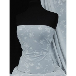 White Floral Embossed Stretch Paris Mesh Material SQ24 WHT