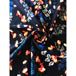 Floral Black/Multi Cotton Lycra Jersey 4 Way Stretch Fabric SQ257 BKMLT