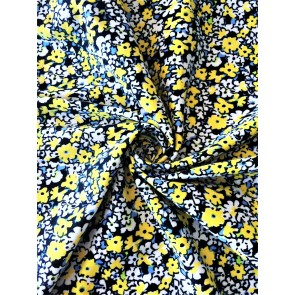 Yellow Florals Cotton Lycra Jersey 4 Way Stretch Fabric SQ258 YLWH
