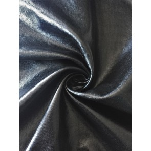 Black Wet Look Stretch Ponte Fabric SQ259 BK