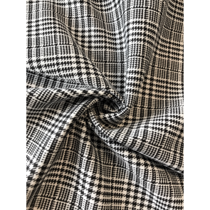 Black/White Ponte Stretch Gingham Fabric SQ263 BKWH