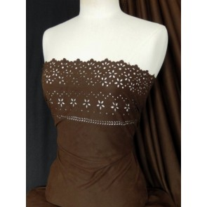 Brown Laser Cut Embroidered Suede Look Fabric Material SQ27 BR