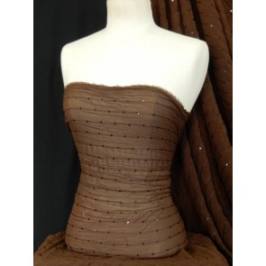 Brown Crinkle Chiffon Sequin Sheer Fabric SQ28 BR