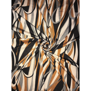 Abstract Copper/Black Soft Touch Lycra 4 Way Stretch Fabric SQ308 CPBK