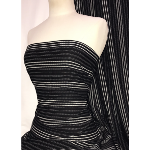 Black Pin Stripes 100% Viscose Light Weight Woven Material SQ330 BKIV