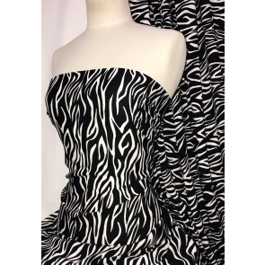 Black Zebra 100% Viscose Light Weight Woven Material SQ331 BKIV