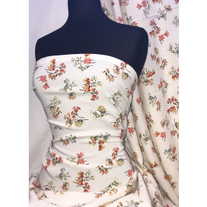 Peach Floral Blossom Georgette Crepe Soft Touch Sheer Fabric SQ334 IVPCH