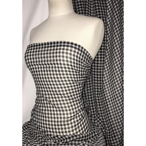 Gingham Black/White Georgette Crepe Soft Touch Sheer Fabric SQ336 BKWHT