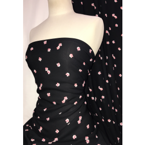 Ditsy Flowers Black/Pink Georgette Chiffon Soft Touch Sheer Fabric SQ337 BKPN