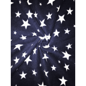 Twinkle Stars Navy/White Polar Fleece Anti Pill Washable Soft Fabric SQ351 NYWHT
