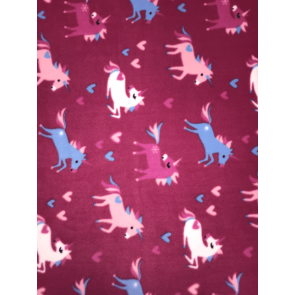 Unicorn Dreams (Dark Pink) Polar Fleece Anti Pill Washable Soft Fabric SQ355 DKPN