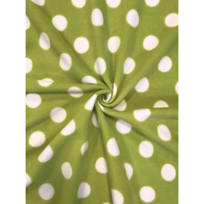 Giant Polka Dots (Lime) Polar Fleece Anti Pill Washable Soft Fabric SQ356 LMWHT
