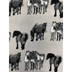 Horses Grey/Black Polar Fleece- Anti Pill Washable Soft Fabric SQ361 GRBK