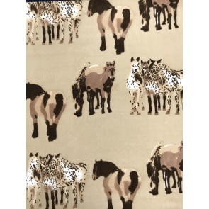 Horses Stone/Brown Polar Fleece- Anti Pill Washable Soft Fabric SQ361 STN