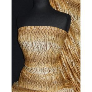 Camel Tiger Print Sequin Silk Touch 4 Way Stretch Fabric SQ36 CML