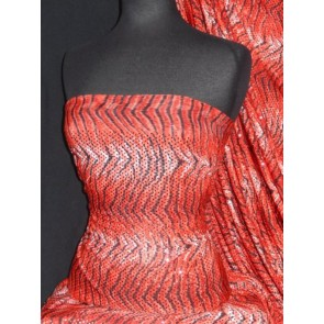 Red Tiger Print Sequin Silk Touch 4 Way Stretch Fabric SQ36 RD