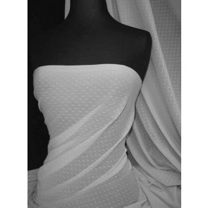 White Spot Helenka Stretch Sheer Mesh Material SQ37 WHT