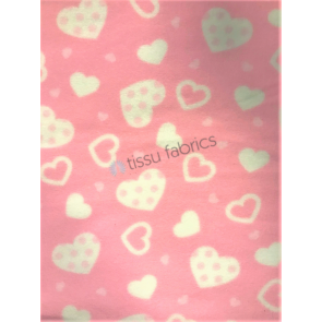 Pink Polka Hearts Polar Fleece Anti Pill Washable Soft Fabric SQ427 PNWHT