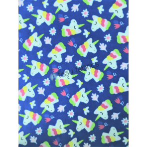 Unicorn Fantasy Royal Blue Polar Fleece Anti Pill Washable Soft Fabric SQ445 BLMLT