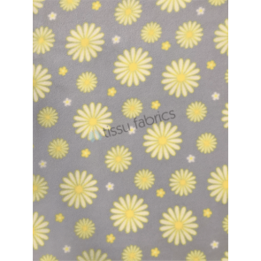 Daisies Powder Blue/Yellow Polar Fleece Anti Pill Washable Soft Fabric SQ447 PBLYL