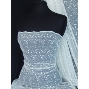 Ivory Leaf Embroidered Tulle Net Fabric SQ59 IV