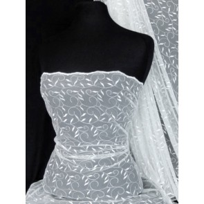 White Leaf Embroidered Tulle Net Fabric SQ59 WHT