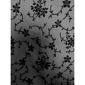 Grey/Black Floral Flocking Print 4 Way Stretch Light Jersey Fabric SQ61 GRBK