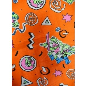 Ninja Turtles Orange 100% Cotton Woven Material SQ75 OR