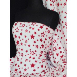 Red/White Star Micro Fleece Washable Ultra Soft Q877 RDWHT