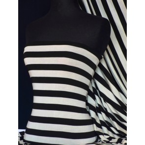 Stripe black cream viscose stretch Q678 BKCRM