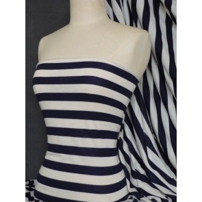Navy/Cream Stripe Stretch 100% Viscose Q616 NYCRM