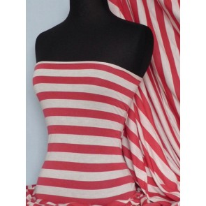 Red/Cream Stripe Stretch 100% Viscose Q616 RDCRM