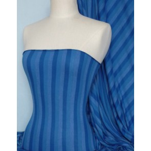 Stripe Royal Blue 100% Viscose Stretch Fabric Material Q240 RBL