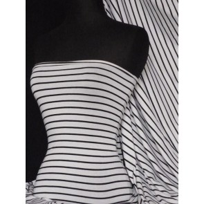 White/Black Stripe Viscose Cotton Stretch Fabric Q1001 WHTBK