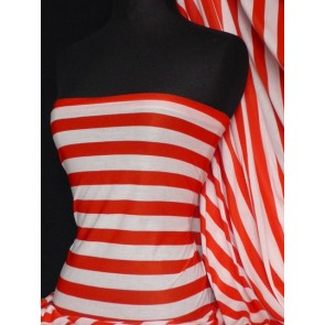 Bright Red/Cream Stripe Viscose Cotton Stretch Fabric Q741 BRDCRM