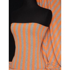 Stripe Grey/Orange 100% Viscose Fabric Q305 GYOR
