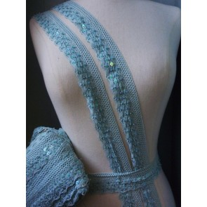 Mint Cotton Sequin Crochet Trim SY141 MNT