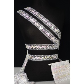 Angel White Sequin Organza Trimming SY25 WHT