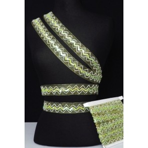 Lime Green Sequin Organza Trimming SY27 LGR