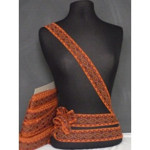 Rust Orange Cotton Crochet Lurex Trim SY34 OR