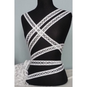 3 Metres White Criss-Cross Ribbon Trim SY48 WHT