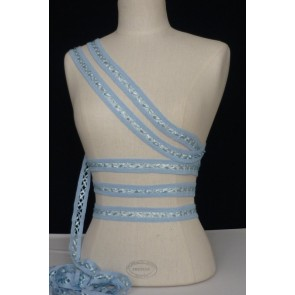 3 Metres Baby Blue Criss-Cross Ribbon Trim SY49 BBL