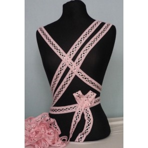 3 Metres Baby Pink Criss-Cross Ribbon Trim SY50 BPN