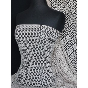 Taupe fishnet / abstract net stretch fabric Q899 TAUP