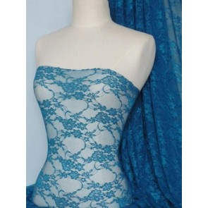 Teal Flower Soft Stretch Lycra Lace Fabric Q137 TL