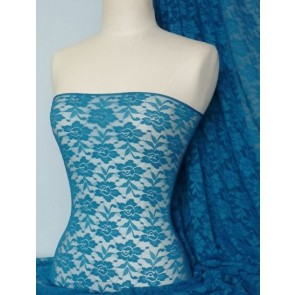 Teal Flower Soft Stretch Lace Lycra Fabric Q365 TL
