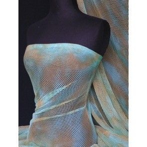 Turquoise Tie Dye Fishnet 4 Way Stretch Fabric Q713 TQS