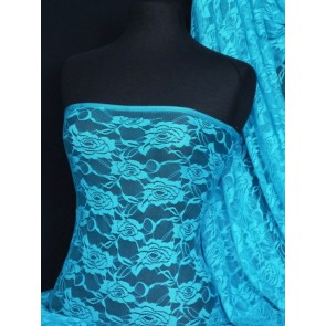 Turquoise blue rose flower stretch lace fabric Q963 TQS