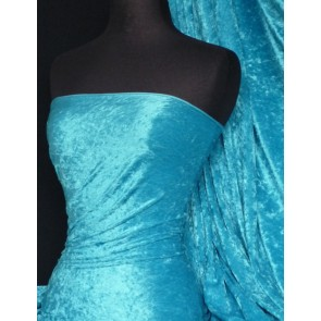 Turquoise Blue Crushed Velvet/ Velour Stretch Fabric Q156 TQBL