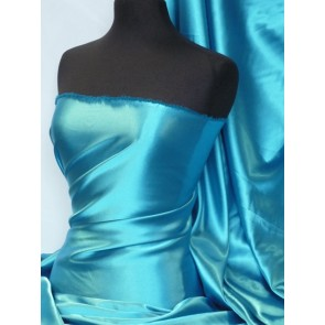 Turquoise Medium Weight Satin Fabric Q243 TQS